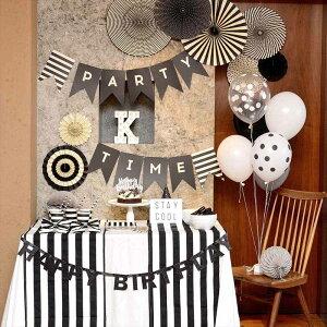 あす楽!【mymind'seyeマイマインズアイ】ブラック&ホワイトペーパーファンセットBLACK&WHITEパーティーファン【ペーパーファンホームパーティーパーティー装飾飾り付け誕生日】