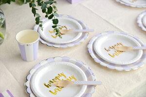あす楽!【sambellina】ペーパープレートゴールドHappyBirthday紙皿12枚入り【パーティー用ケーキプレート】HBDP誕生日ホームパーティーイベントデコレーション1歳誕生日PARTYGoldFoilリトルレモネード