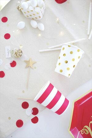 【SAMBELLINA】ペーパーカップホワイトxゴールドドット柄紙カップ12個入り【パーティー用紙コップ】DOTCUP誕生日ホームパーティーイベントデコレーション1歳誕生日PARTYWHITEGOLD【クリスマスX'mas】あす楽リトルレモネード