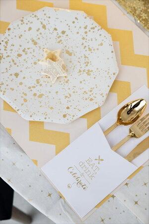 【MeriMeri】ホワイトxゴールドスパタしぶき柄ペーパープレート8枚入りパーティー用紙皿ホームパーティーテーブルコーディネート紙皿ドットコンフェッティ大人っぽいGoldSpatterLargePlatesあす楽リトルレモネード