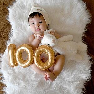 100日のお祝いに17cmナンバーバルーン膨らませてお届け100セットゴールドシルバー【赤ちゃん百日祝いお食い初め写真フォトプロップス】100日祝いバルーン飾り風船数字あす楽リトルレモネード