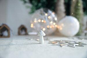 【Rader】ガラス製キノコのミニオブジェ白【クリスマス飾りオーナメントデコレーションクリスマスツリーオブジェ置き物ドイツ北欧きのこマッシュルーム】【Christmasxmas】Xmas2018あす楽リトルレモネード