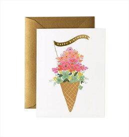 バースデーカード/ Ice Cream Birthday(アイスクリームバースデー)【RIFLE PAPER】 【誕生日 Birthday カード message card メッセージカード グリーティング メッセージ greeting プレゼント お祝い】あす楽 リトルレモネード