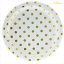 あす楽!【sambellina】ペーパープレート ホワイト x ゴールド ドット柄 紙皿 12枚入り 【パーティー用 プレート】 …