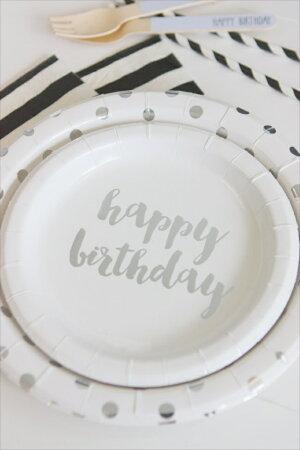 あす楽!【sambellina】ペーパープレートシルバーHappyBirthday紙皿12枚入り【パーティー用ケーキプレート】HBDP誕生日ホームパーティーイベントデコレーション1歳誕生日PARTYsilverfoilリトルレモネード