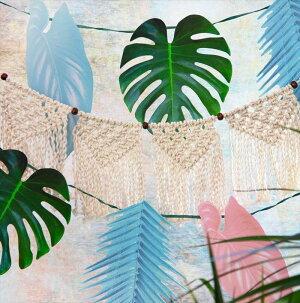 マクラメガーランド/クリーム【TalkingTables】壁飾りマクラメ編み誕生日BohoCreamMacrameGarlandボヘミアンサマーパーティー夏summerウェディング結婚式BOHO-GARL-KNIT-CRMあす楽リトルレモネード