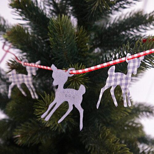 【クリスマス用品・布製チャーム】バンビ:グレイ&ギンガム3枚入り[ Christmas:クリスマス ]★お一人様一回限り使えるクリスマスクーポン★ご利用ください♪