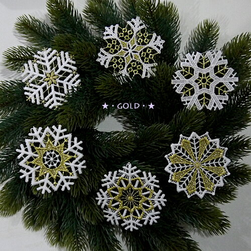 【クリスマス用品・2018年9〜10月入荷分ご予約】ドイツ製レースオーナメント:雪の結晶スノークリスタル6枚セット[ Christmas:クリスマスオーナメント ]