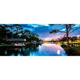 お風呂ポスター 夜の近づく川 パノラマ(105×42cm) 長期固定タイプ(吸着素材)