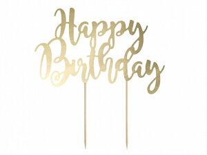 ケーキトッパー ゴールド 誕生日 バースデー パーティーシンプル おしゃれ かわいい バースデーケーキ ホームパーティー 誕生日ケーキ 装飾 ケーキ飾り付け デコレーション [PartyDeco]