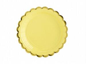 プレート ライトイエロー [6枚入り] 紙皿 ペーパープレート 誕生日 バースデー パーティー 誕生日会 ベビーシャワー パーティー テーブルコーディネート 装飾 [PartyDeco]