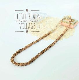 【ワークショップ作品】Little Beads Village/ブリリアント・スクエア・ネックレス/ゴールド/ビーズクロッシェ キット/