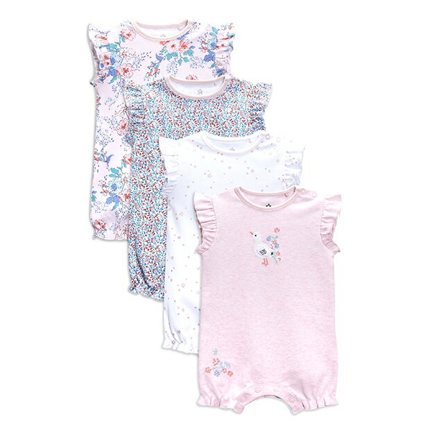 NEXT ネクスト ロンパース 4枚セット 2018年春夏最新作 半袖ロンパース 女の子ベビー服 ピンク/ホワイト フローラル