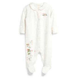 ≪難あり≫NEXT ネクスト カバーオール ロンパース スリープウェア 足つき 長袖 女の子ベビー服 お花 水玉 刺繍
