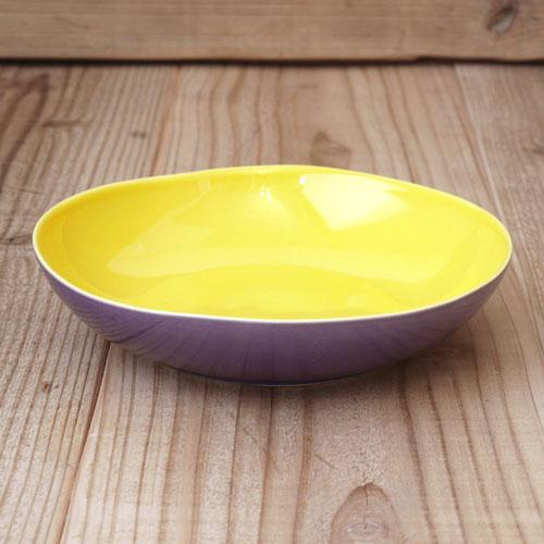皿 プレート 陶器 おしゃれ 洋食器 北欧食器 輸入食器 デンマーク rice ライスポルトガル セラミック ツートンスーププレート イエロー×パープル