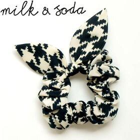 milk&soda(ミルク&ソーダ)リボンシュシュハウンドトゥース