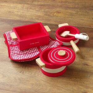 おままごと 木製 鍋 調理器具 料理 キッチン 木のおもちゃ おしゃれ かわいい プレゼント ギフト 輸入玩具 イギリス Indigo Jamm インディゴジャム クッキングセット レッド