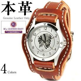fac1c72f57 ウォッチブレス メンズ カウハイド 男女兼用 本革 KC's KMR006G 腕時計 ウォッチ 革ジャン・革製品