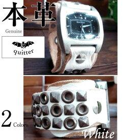 d091943e37 スタッズWベルトウォッチ メンズ 本革 quitter QTW015WH 腕時計 ウォッチ 革ジャン・革製品 日本