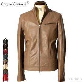 Liugoo Leathers 本革 シングルライダースジャケット メンズ リューグーレザーズ SRS07 レザージャケット バイカージャケット 革ジャン 皮ジャン 本皮ジャンパー ライディング モーターサイクル ロッカーズ 海外発送可 AP