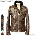 Liugoo Leathers 本革 襟ボアハイネックシングルライダースジャケット メンズ リューグーレザーズ WNG01A シングルラ…