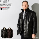LIUGOO 本革 レザーセミロングコート 通勤コート メンズ リューグー COT02A レザージャケット ビジネスコート 革ジャ…