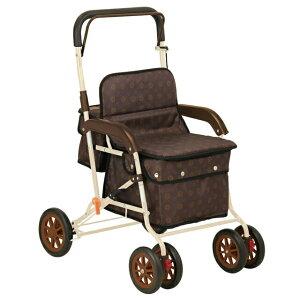 アルミ製 座れるシルバーカー ボクスト 折りたたみ シルバーカート おしゃれ 手押し車 歩行補助車 歩行器 老人用 介護 福祉 ブラウン ブルー