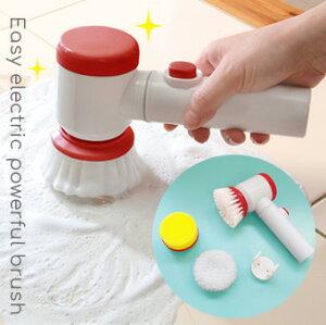 電動ブラシ 掃除用 洗面所 風呂掃除 スポンジ付き 電動 回転ブラシ ミニ 電池式 ポリッシャー パワフル 玄関 掃除