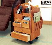 <匠木工>天然木テーブルまわりの便利ワゴンハイタイプ