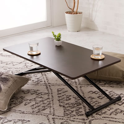 木製 昇降式テーブル 新型 5段階 リフティングテーブル コンパクト 高さ調節 リフトアップ 折りたたみ テーブル らくらく昇降式フリーテーブル 作業台 一人暮らし デスク 収納 ブラウン 木目 ハイテーブル