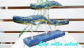 【マリンインテリア】木彫り☆クジラ3体の木彫りのオブジェ