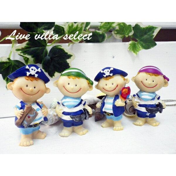 【マリン雑貨】マリン★小さな船乗りの置き物4体セット