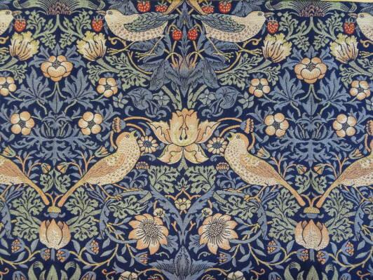 【FILO William Morris フィーロ ウィリアムモリス いちご泥棒 FF1008 ブルー 】生地1巾10cm単位カット販売 日本の川島織物が、英国ウィリアムモリスのデザインをFILO