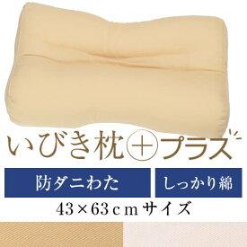 いびき枕プラス 43 × 63 cm サイズ 洗える 綿 わた 綿ツイル 防ダニ 防臭 抗菌 通気性 まくら マクラ 枕 日本製 いびき防止 いびき対策