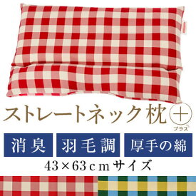 ストレートネック 枕 プラス43 × 63 cm 肩こり 首こり 矯正 首枕 洗える 日本製 高さ調節 羽毛調わた 炭パイプ 綿オックスチェック