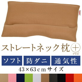 ストレートネック 枕 プラス 43 × 63 cm 肩こり 首こり 矯正 首枕 洗える 高さ調整 日本製 防ダニわた ソフトパイプ ダブルラッセル