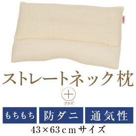 ストレートネック枕 プラス 43 × 63 cm 矯正 洗える 日本製 高さ調節 防ダニわた エラストマーパイプ コットンラッセル