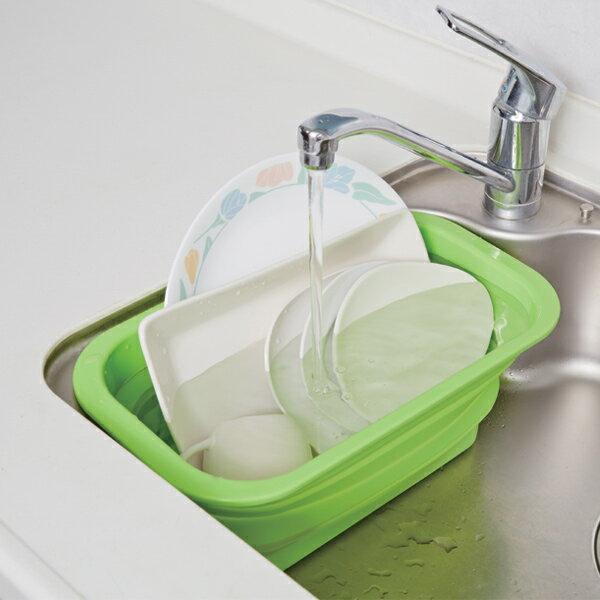 洗い桶 たためるシリコン 洗い桶 スリム グリーン 6L ( 洗いおけ たらい 食器洗い シリコン製 タライ 畳める つけ置き 漬け置きカゴ シリコンカゴ キッチン用品 シンク周り 水周り )