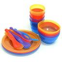 食器セット カラフルセット アウトドア用 4人用 プラスチック製 バッグ付 ( パーティ食器セット 皿セット キッ…