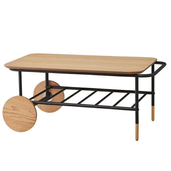 センターテーブル ローテーブル 車輪付 オセロ 幅92cm ( 送料無料 テーブル 机 つくえ ダイニングテーブル リビングテーブル アイアンフレーム 木製 カフェテーブル 丸 円 円型 車輪 個性的 かわいい おしゃれ 収納スペース付き )
