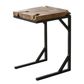 サイドテーブル スチールフレーム ( 送料無料 テーブル ソファサイド コーヒーテーブル ベッドサイド スチール 天然木 チーク材 無垢材 )