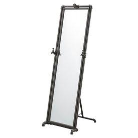 スタンドミラー パイプフレーム インダストリアル風 幅46cm ( 送料無料 ミラー 姿見 かがみ 鏡 全身 シンプル ブラックスチール ブラック 黒 新生活 おしゃれ モダン おすすめ )