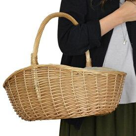 ピクニックバスケット かごバッグ 煮柳バスケット ふたなし 布張り ( カゴバッグ 天然素材 オーバル型 かわいい インテリア雑貨 内布 楕円形 編み )