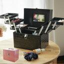 コスメボックス レザー調 トレイ付き 鏡付き メイクボックス ( 送料無料 コスメ 化粧品 収納 メイク 化粧入れ 化粧品…