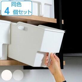 キッチン収納ケース 吊り戸棚ボックススリム 幅18.5cm 4個セット ( 収納ボックス 整理ケース 取っ手付き 戸棚収納 収納BOX 収納ストッカー キッチンストッカー 吊戸棚用 収納 収納カゴ キッチン収納 プラスチック 収納用品 )