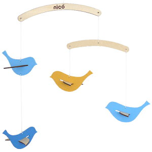 モビール とり 木製 北欧 nico kids 赤ちゃん ( ベッドメリー 木 鳥 模型 オーナメント ベビー 子供 メリー 吊るす 飾り キッズ 子供部屋 インテリア おしゃれ シンプル )