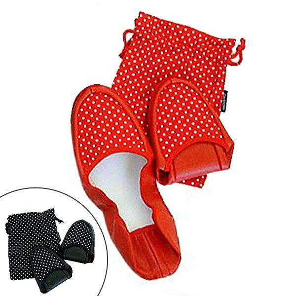 携帯スリッパ 水玉スリッパ 巾着付 折りたたみスリッパ 女性用 ( スリッパ 折りたたみ 機内用スリッパ ルームシューズ )