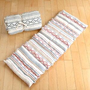 クッション ロングクッション インド綿 PEET ピート マットレス 座布団 ( ざぶとん 長方形 フロアクッション ごろ寝 シートクッション チェアクッション 120×43 四角 角型 柄 幾何学模様 フロ