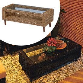 ローテーブル グランツ アバカ素材 幅100cm ( 送料無料 アジアン家具 マニラ麻 センターテーブル リビングテーブル 机 デスク ガラステーブル )
