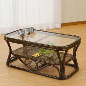 ラタンテーブル ガラス天板 ローテーブル 棚付 籐家具 幅90cm( 送料無料 センターテーブル アジアン ラタン家具 )